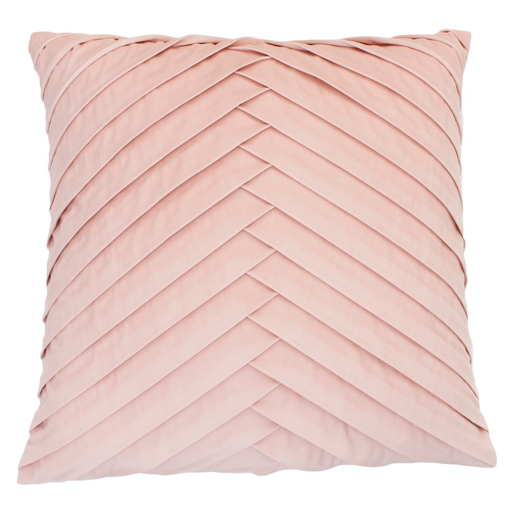 James Pleated Velvet Oversize Square Throw Pillow Rose (Pink) - Decor Therapy