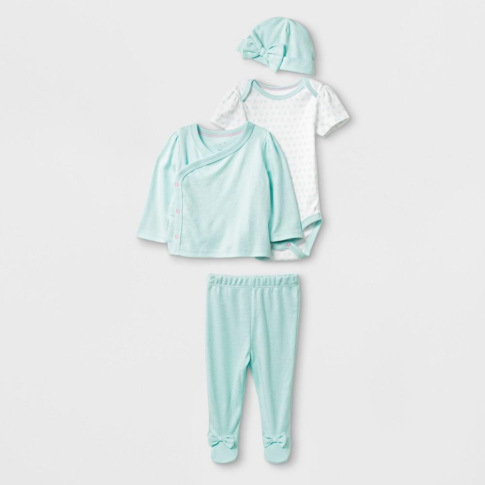 Baby Girls' 4pc Bodysuit Set - Cloud Island Mint 0-3M, Blue