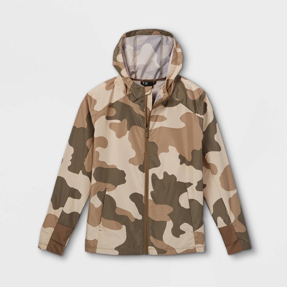 Boys 39 Camo Print Rain Jacket All In Motion 8482 Beige Xl