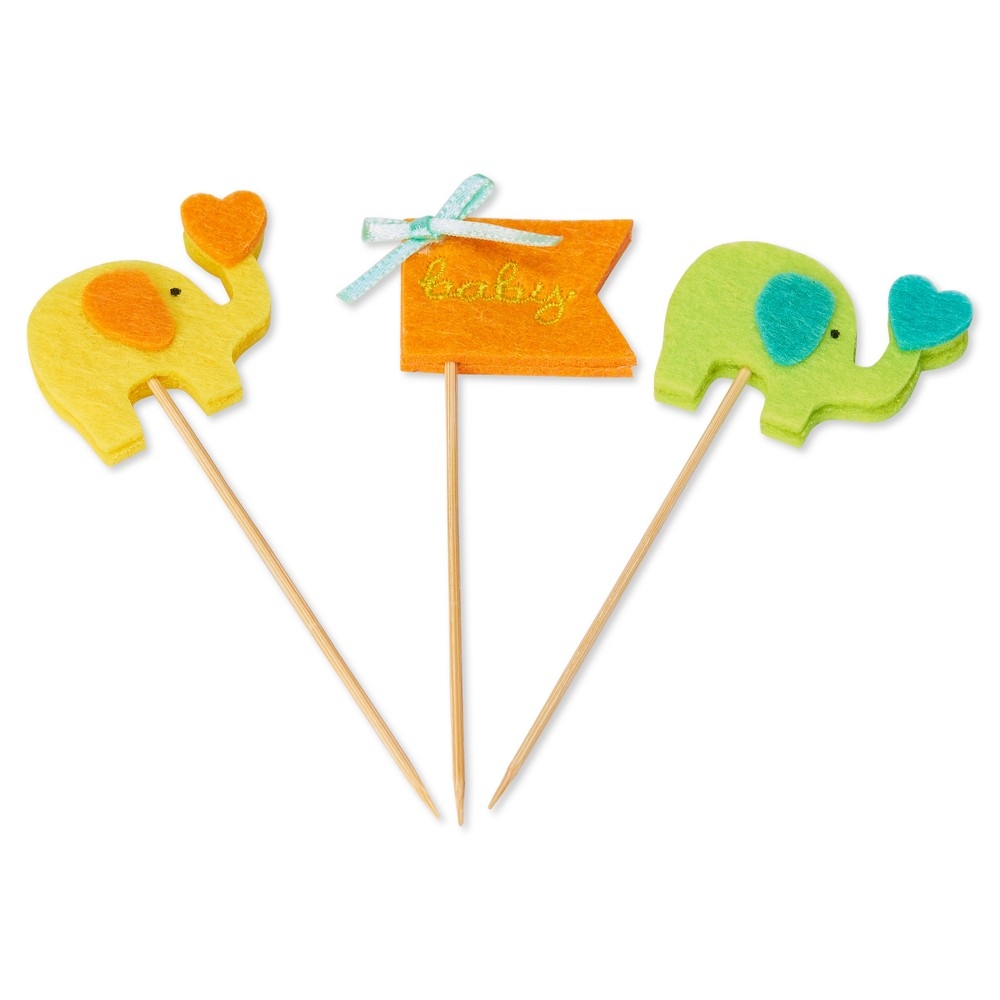 Papyrus Baby Elephants Elephant Party Picks, Multi-Colored