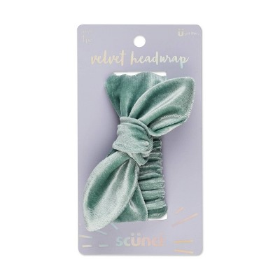 Scunci Velvet Bow Headwrap - Teal - 1ct