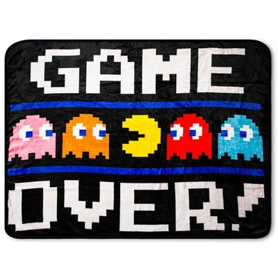 "Just Funky Pac-Man ""Game Over"" Fleece Throw Blanket | 45 x 60 Inch Cozy Blanket"