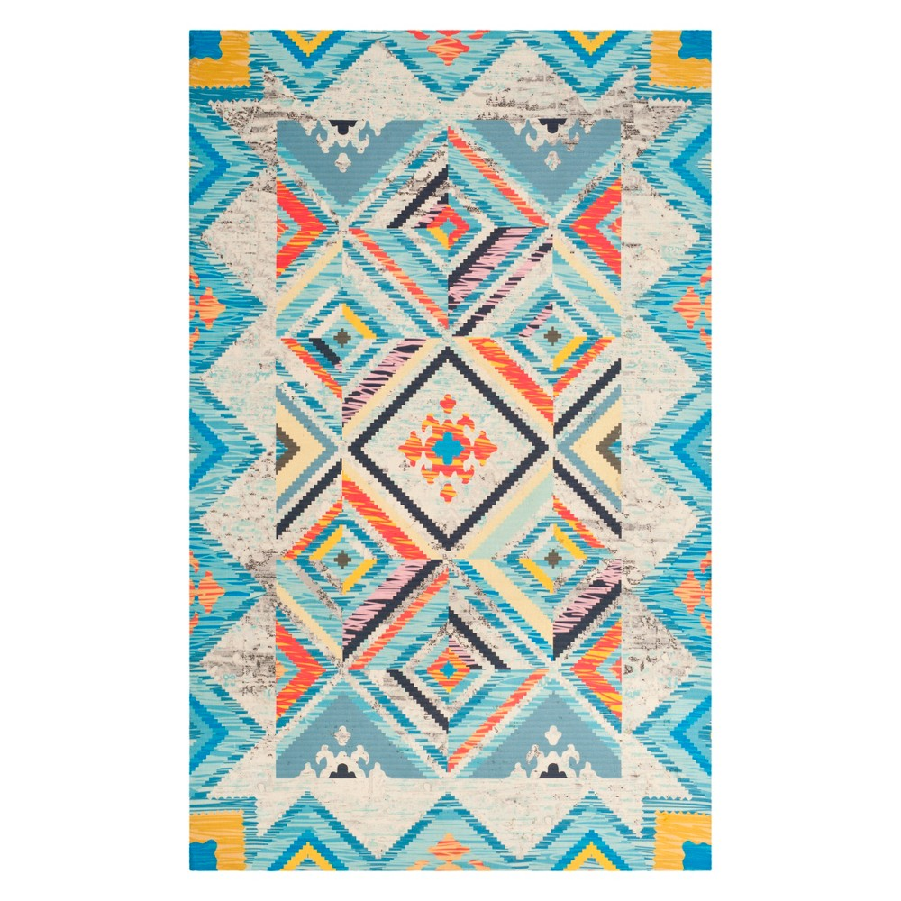 5'X8' Tribal Design Loomed Area Rug Blue/Light Gray - Safavieh