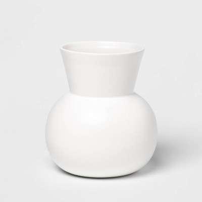"7.8"" x 7.1"" Matte Ceramic Round Vase White - Project 62™"