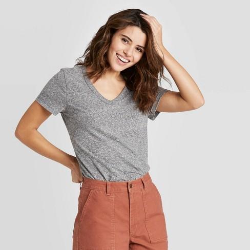 Women's Short Sleeve V-Neck T-Shirt - Universal Thread™ Heather Gray - image 1 of 3