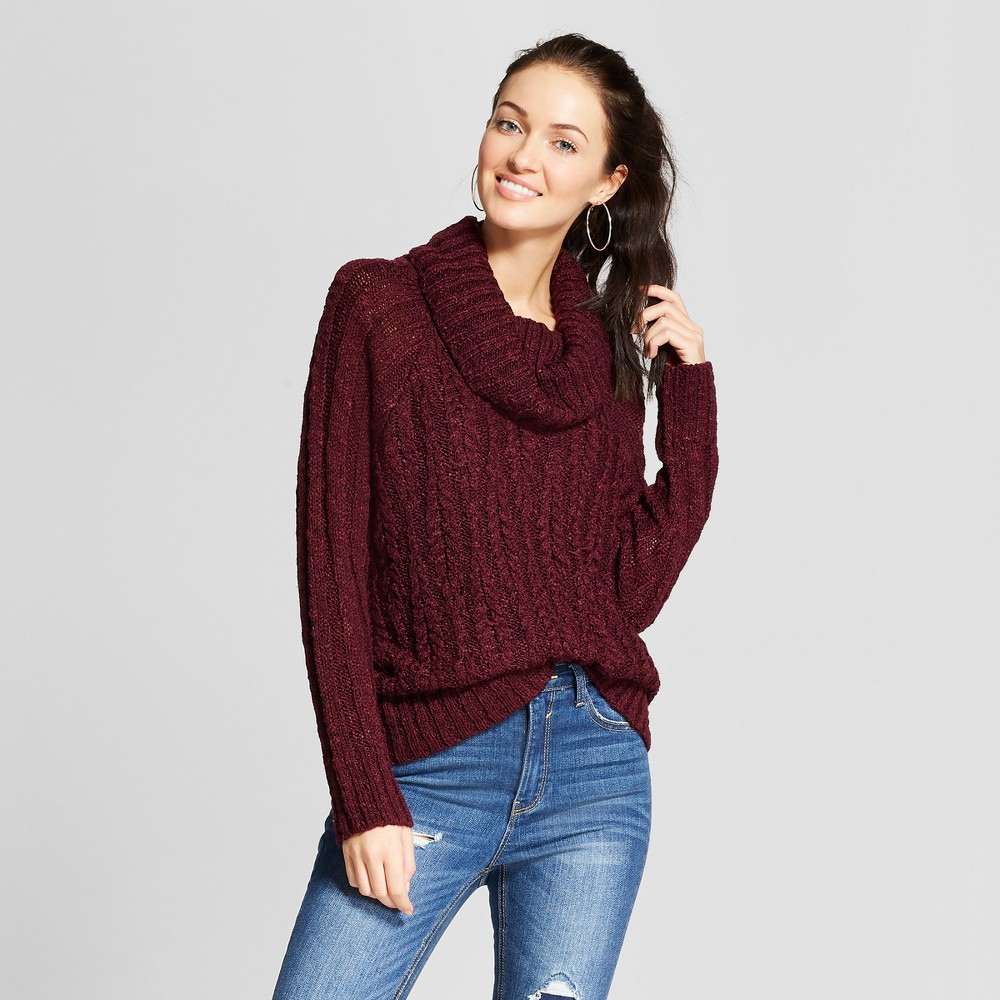 Women's Long Sleeve Cowl Neck Lace-Up Back Sweater - Xhilaration Red Wine S