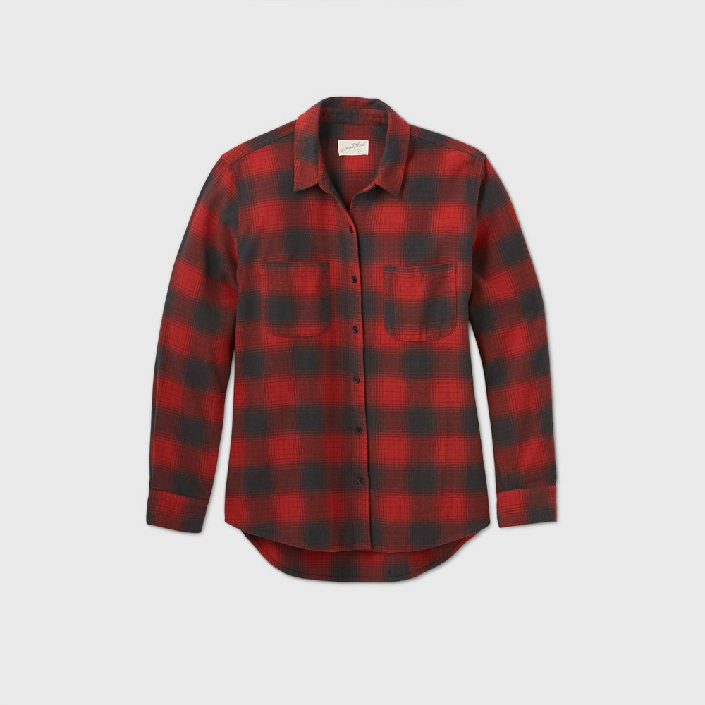 Vintage Tops & Retro Shirts, Halter Tops, Blouses Womens Plus Size Plaid Long Sleeve Button-Down Flannel Shirt - Universal Thread Red 4X $20.00 AT vintagedancer.com