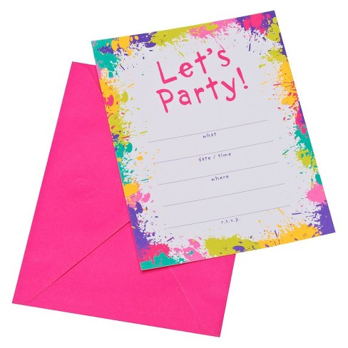 Neon Let's Party! Party Invitations (10 ct) - image 1 of 1
