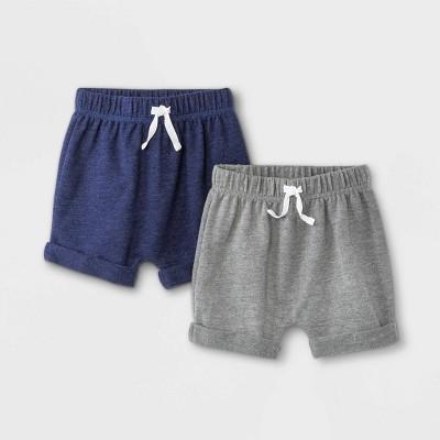 Baby Boys' 2pk Knit Pull-On Shorts - Cat & Jack™ Navy/Gray 0-3M