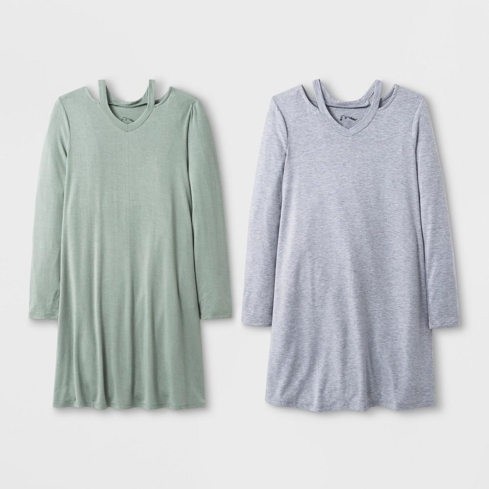 Girls' Long Sleeve Cut Out 2pk A Line Dress - art class Gray/Blue L