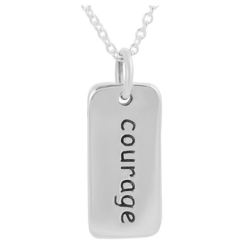 "Women's Journee Collection Courage Tag Pendant Necklace in Sterling Silver - Silver (18"") - image 1 of 3"