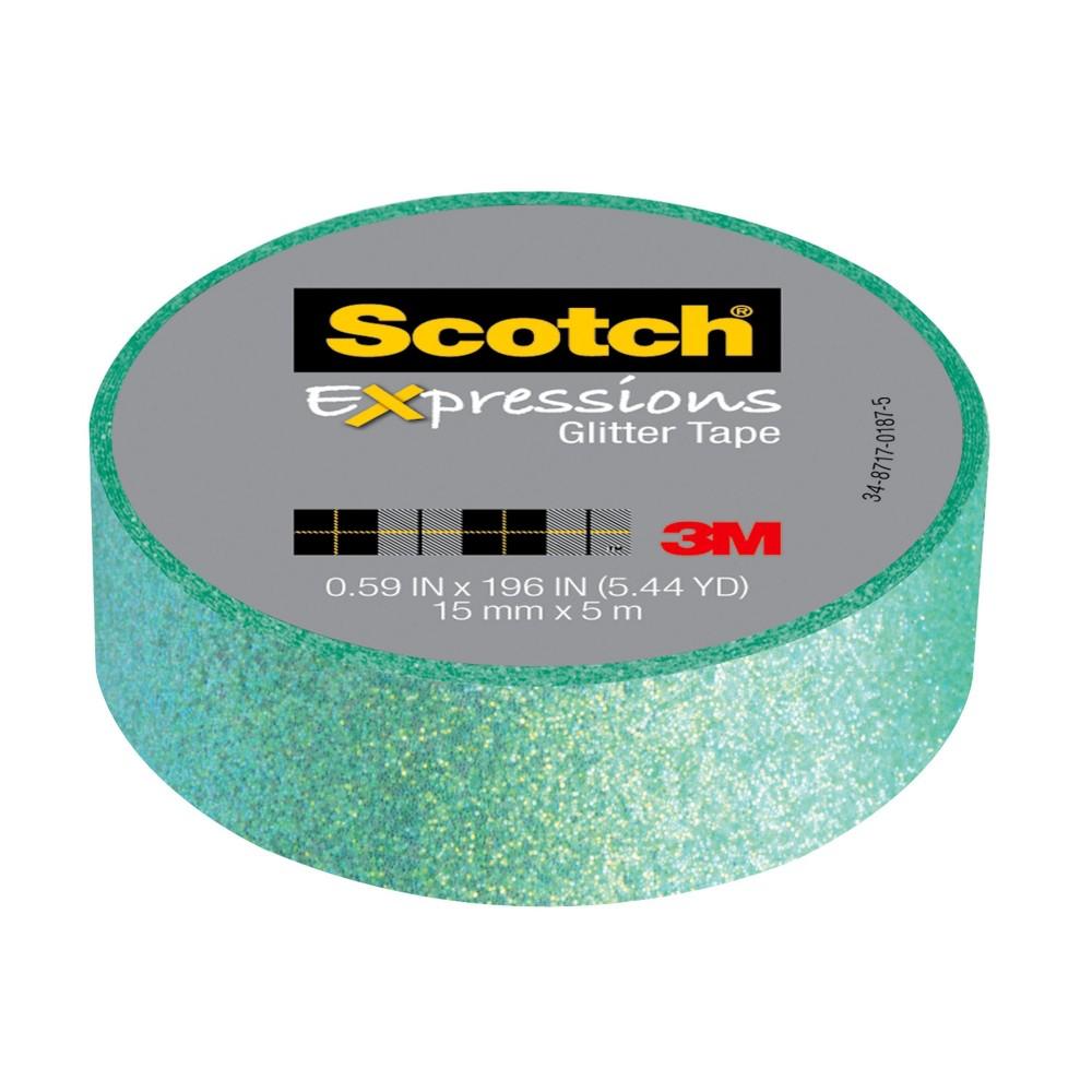 Scotch Expressions Glitter Tape, 59 in x 196 in, Green