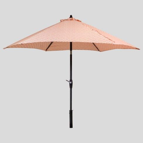 9' Round Geo Diamond Patio Umbrella - Black Pole - Threshold™ - 9' Round Geo Diamond Patio Umbrella - Black Pole - Threshold™ : Target