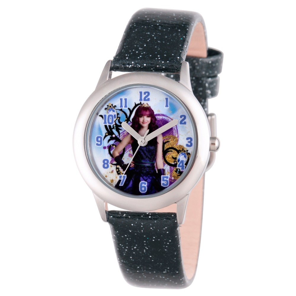 Girls' Disney Descendants 2 Mal Tween Stainless Steel Watch - Black, Purple