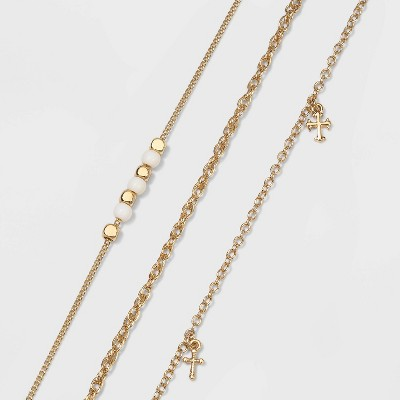 Shiny Charm Beaded Anklet Set - Wild Fable™ Gold