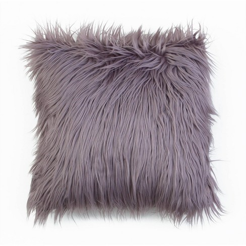 Keller Faux Mongolian Reverse To Micromink Throw Pillow - Décor Therapy - image 1 of 4