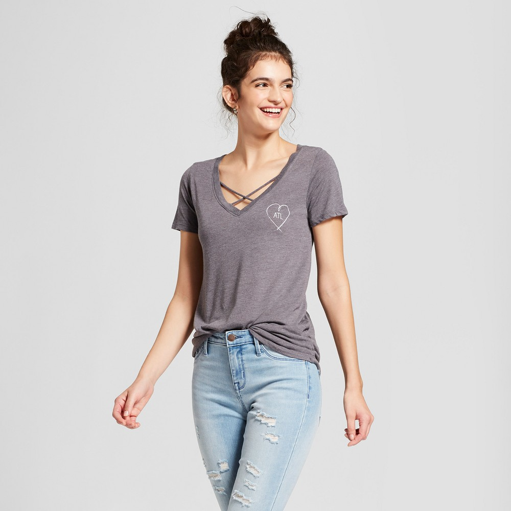 Women's Atlanta Heart Short Sleeve Cross Front Drapey Graphic T-Shirt - Awake Charcoal XS, Gray