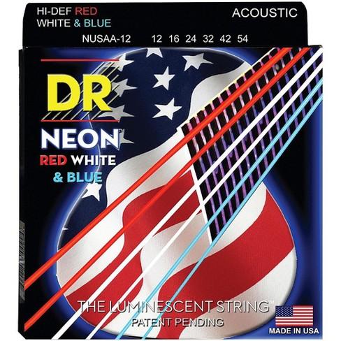 DR Strings Hi-Def NEON Red, White & Blue Acoustic Guitar Medium Strings (12-54) - image 1 of 1