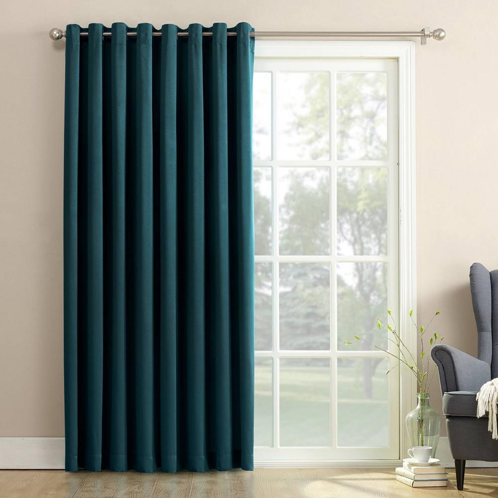 """Image of """"100""""""""x84"""""""" Seymour Grommet Sliding Patio Door Room Darkening Curtain Panel Teal - Sun Zero, Blue"""""""