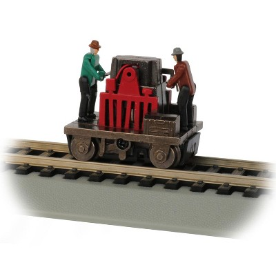 Bachman Trains 46223 HO Scale 1:87 Model Plastic Gandy Dancer Operating Hand Car with 2 Crew Members and Motorized Pumping Action, Assorted Colors