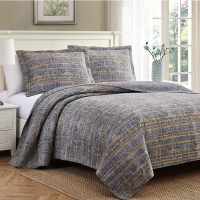 Modern Threads 2 Or 3 Piece 100% Cotton Enzyme Washed Quilt Set Edison.