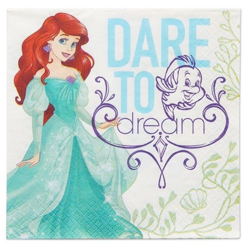 16ct The Little Mermaid Ariel Disposable Napkins - image 1 of 3