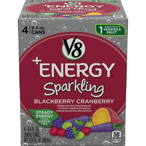 V8 Energy Review >> V8 Energy Sparkling Blackberry Cranberry Juice 4pk 8 4 Fl Oz Cans