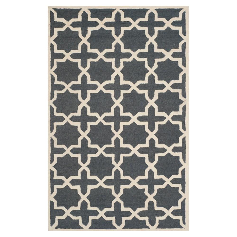 4 X6 Geometric Area Rug Dark Gray Ivory Safavieh