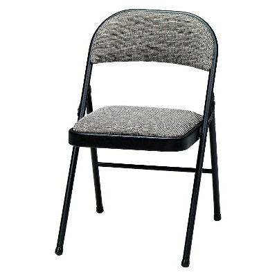 4 Piece Deluxe Fabric Padded Folding Chair Black Lace Frame and Courtyard Fabric - Sudden Comfort