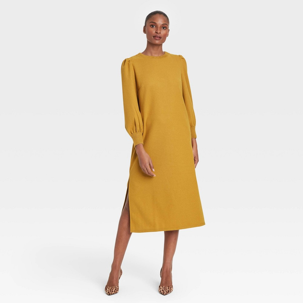 Women 39 S Long Balloon Sleeve Dress Who What Wear 8482 Yellow L