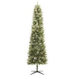 7.5ft Pre-lit  Artificial Christmas Tree Pencil Virginia Pine Clear Lights - Wondershop™