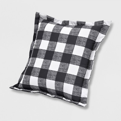 Buffalo Plaid Outdoor Deep Seat Pillow Back Cushion Black - Threshold™