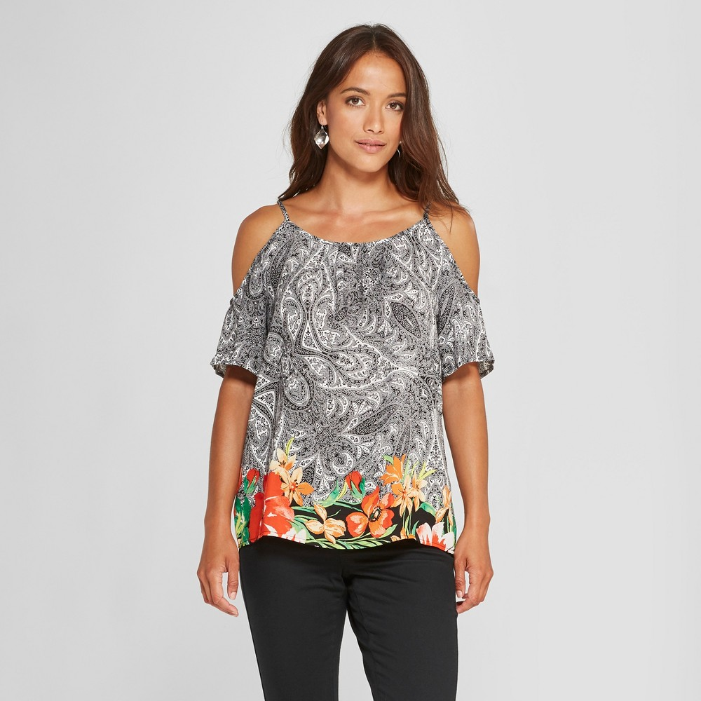 Women's Floral Print Short Sleeve Cold Shoulder Blouse - Lux II - Black/White XL