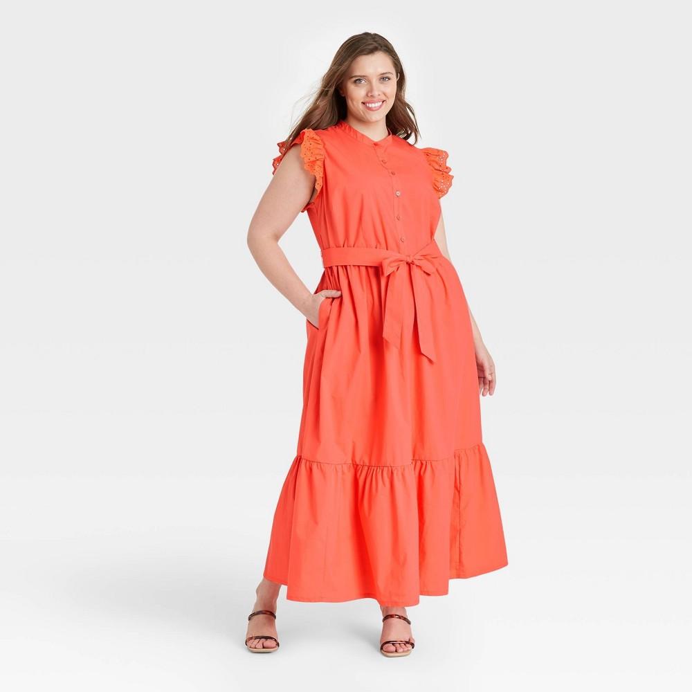 Women 39 S Plus Size Ruffle Short Sleeve A Line Dress Who What Wear 8482 Orange 1x