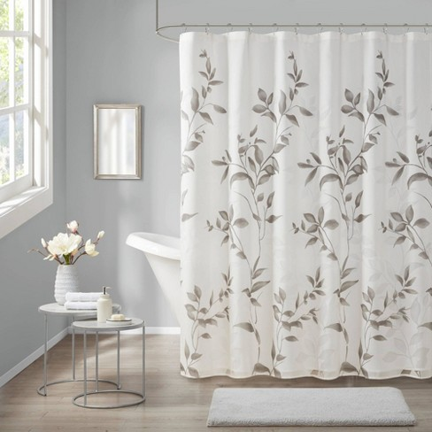 Rosalie Burnout Printed Shower Curtain, Shower Curtains Gray And Beige