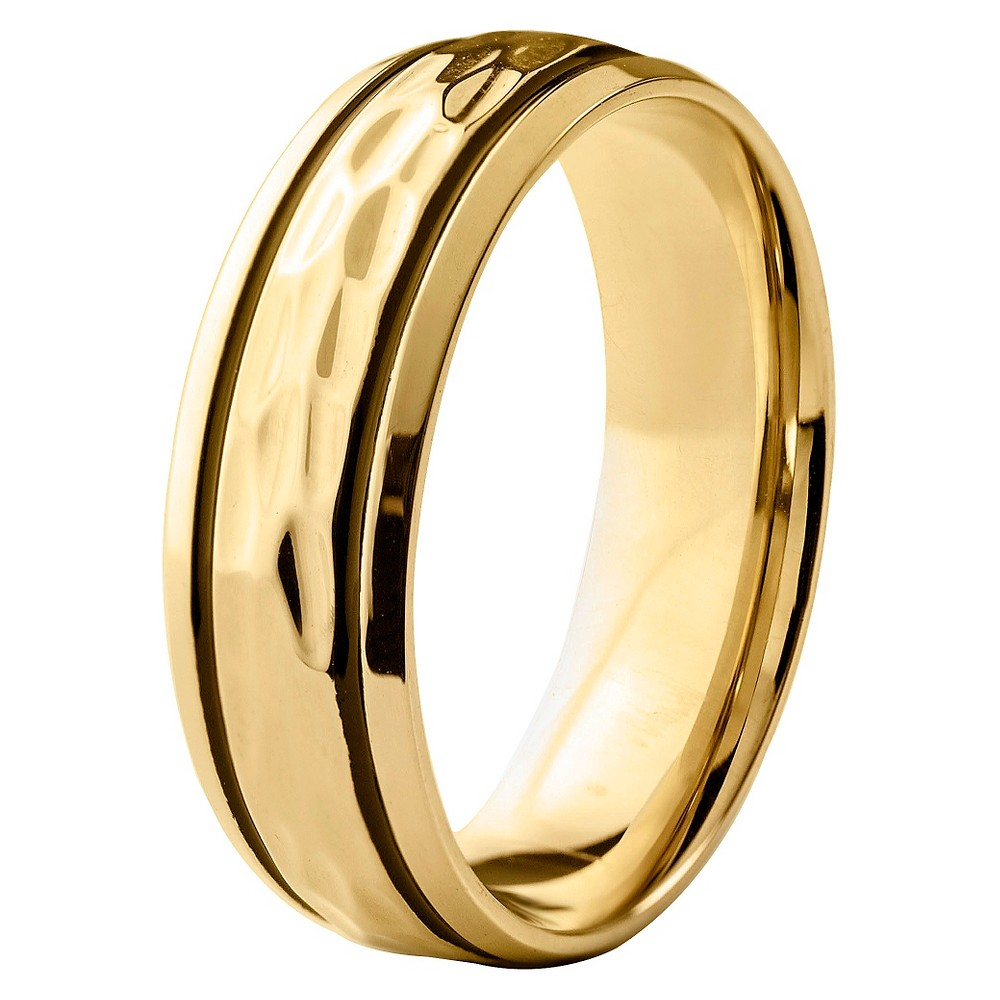 Men's West Coast Jewelry Goldtone Stainless Steel Groove Hammered Ring (12), Black Gold