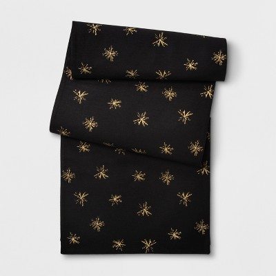 72 x14  Snowflake Table Runner Black/Gold - Project 62™