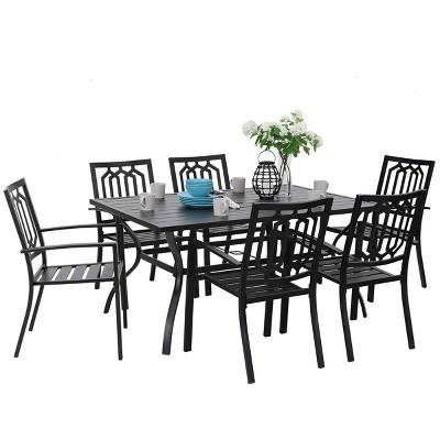 7pc Outdoor Rectangular Table & 6 Chairs with Diamondback Design - Black - Captiva Designs