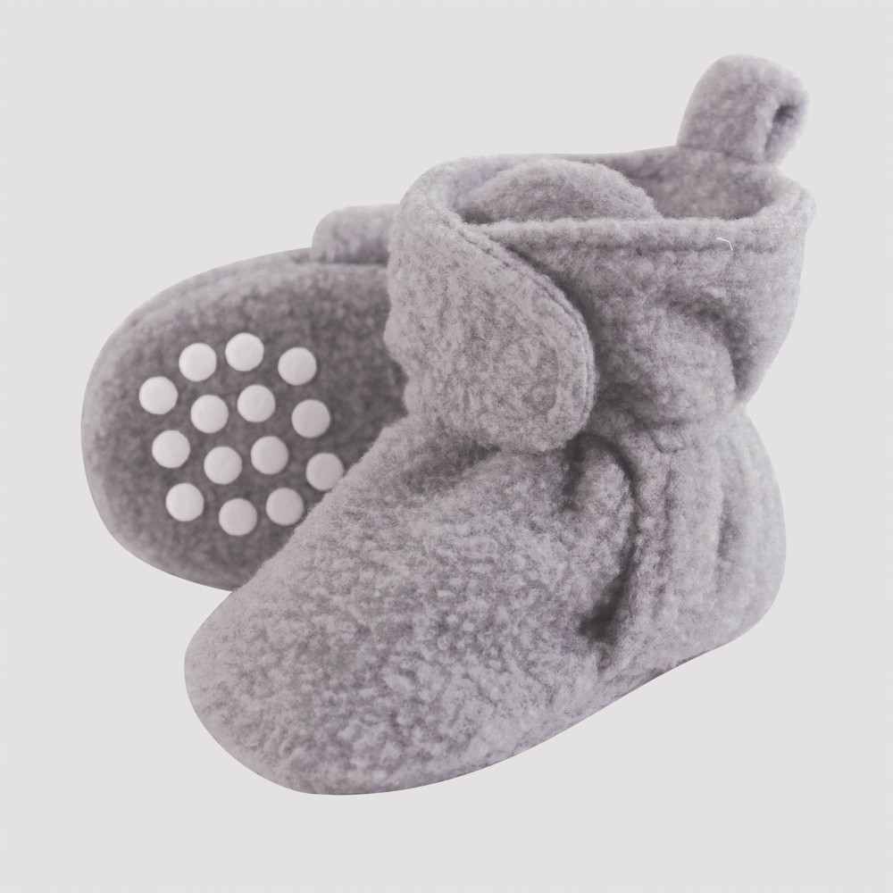 Image of Luvable Friends Baby Fleece Lined Scooties - Heather Gray 0-6M, Kids Unisex, Grey Gray