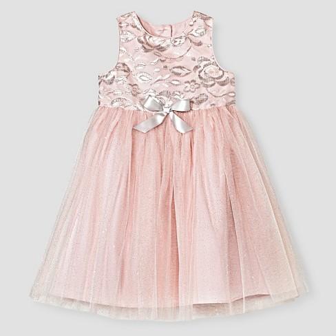 8b307b092a7 Toddler Girls  Sparkle Mesh Flower Girl Dress - Tevolio™ Pink Silver 2T.  Shop all Tevolio