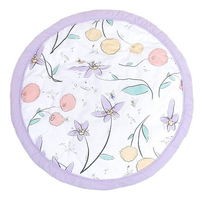 """JumpOff Jo - Round Baby Floor Mat for Tummy Time, Play, and More, 36"""" Diameter - Fairy Blossom"""