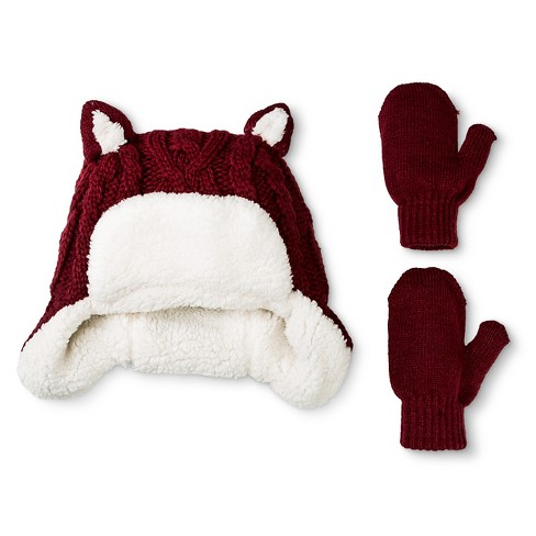 Toddler Girls' Trapper Hat with Ears and Mitten Set - Cat & Jack™ Red - image 1 of 1