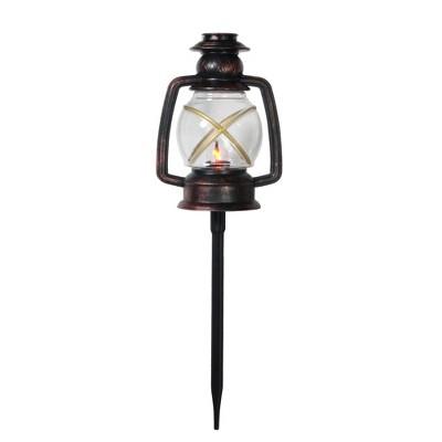 "Northlight Set of 3 Bronze and Black Flickering Lantern Christmas Pathway Markers 16"""
