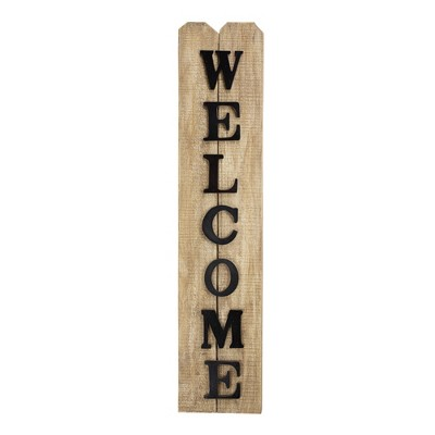 Welcome  Wooden Wall Plaque Brown - E2 Concepts