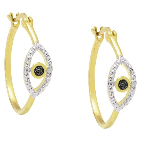 0.02 CT.T.W. Round-Cut Diamond Accent Prong Set Evil Eye Earrings 18K Gold Plated - image 1 of 3