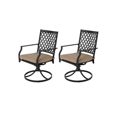 2pc Iron Dining Swivel Chairs With Cushions - Nuu Garden