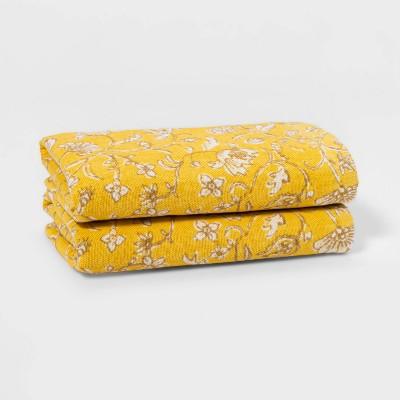 2pk Flat Woven Hand Towel Set Yellow - Threshold™