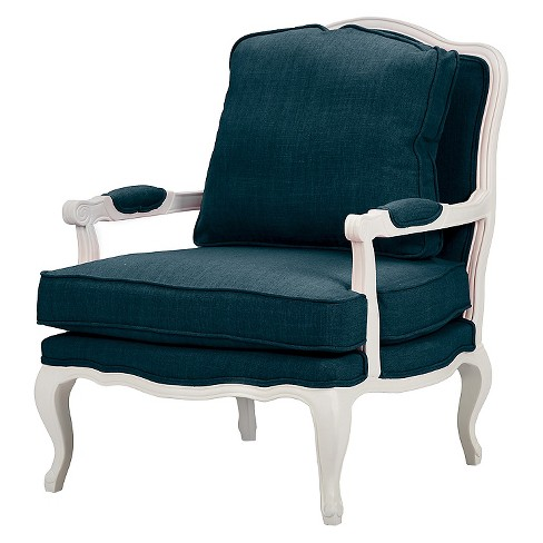 Antoinette Classic Antiqued Fabric French Accent Chair Azure - Baxton Studio - image 1 of 6