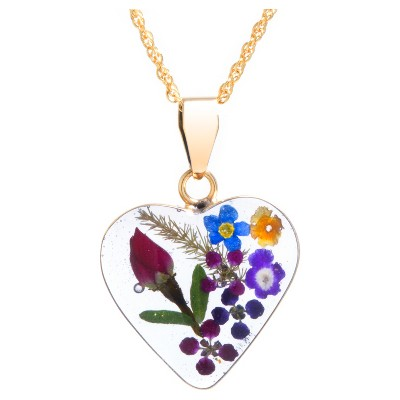 """Women's Gold over Sterling Silver Pressed Flowers Heart Pendant (18"""")"""