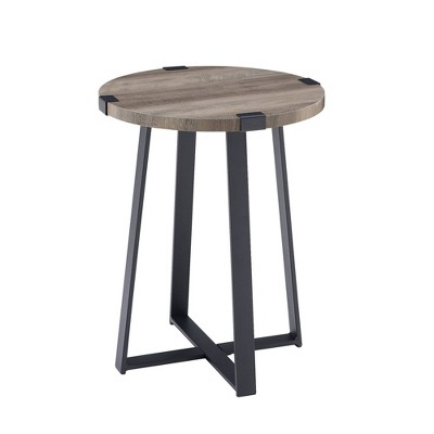 Urban Industrial Glam Faux Wrap Leg Round Side Table Gray Wash - Saracina Home